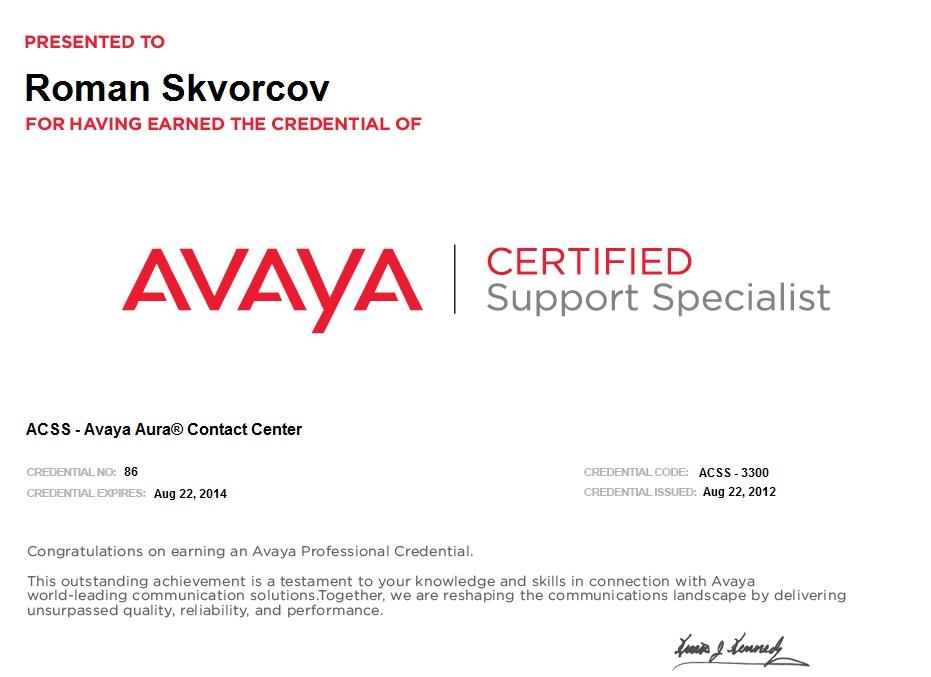 Avaya Certified Implementation Specialist Avaya Aura